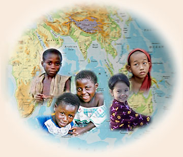 Globe of the Earth with photos of children