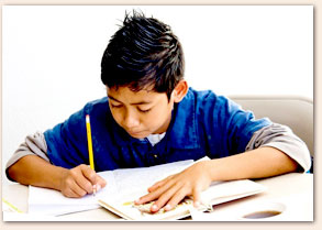 photo of a boy studying.